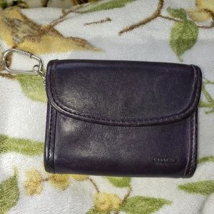 Vintage Coach purple leather coin purse wallet
